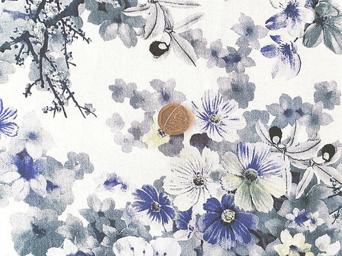 Top Quality Digital Print Viscose Dress Fabric - White with Blue Purple Floral