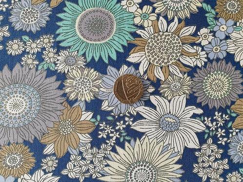 00% Cotton Rose & Hubble Poplin Fabric - Medium Size Copen Blue Floral print - D