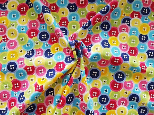 Rose & Hubble 100% Cotton Poplin Fabric - Multicoloured Buttons