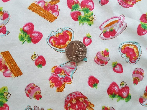 100% Cotton Poplin Fabric - Strawberry Tea