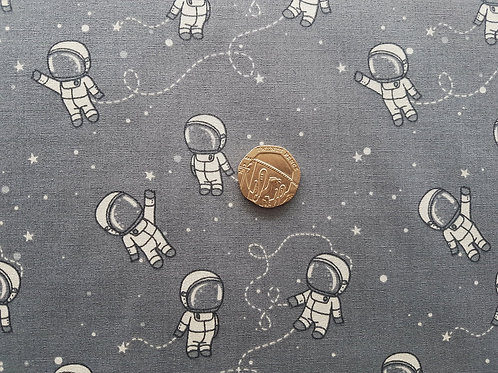 Rose & Hubble 100% Cotton Poplin Fabric - Spaceman Grey