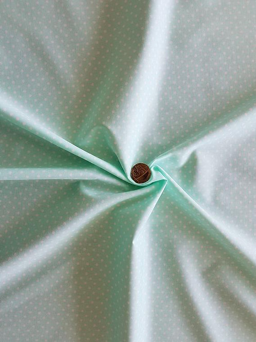 Rose & Hubble 100% Cotton Poplin Fabric - 3mm Polkadot Spot - Mint Green
