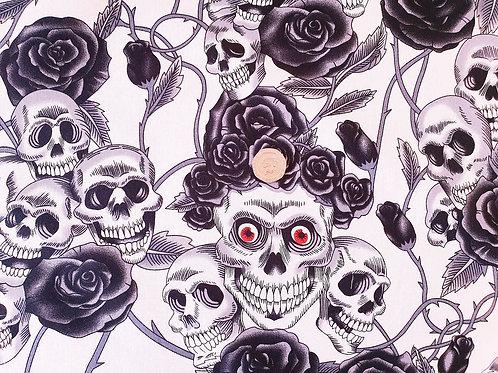 Rose & Hubble 100% Cotton Poplin Fabric - Gothic Skull and Rose design