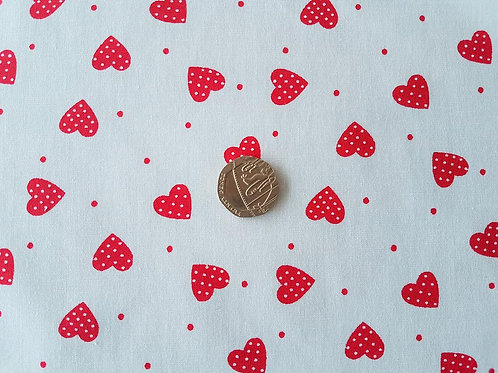 100% Cotton Poplin Fabric - Red Love Hearts - Dressmaking , Quilting, Craft Mate