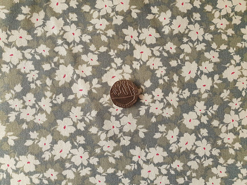 100% Cotton Rose & Hubble Poplin Fabric - Green and Grey Floral print