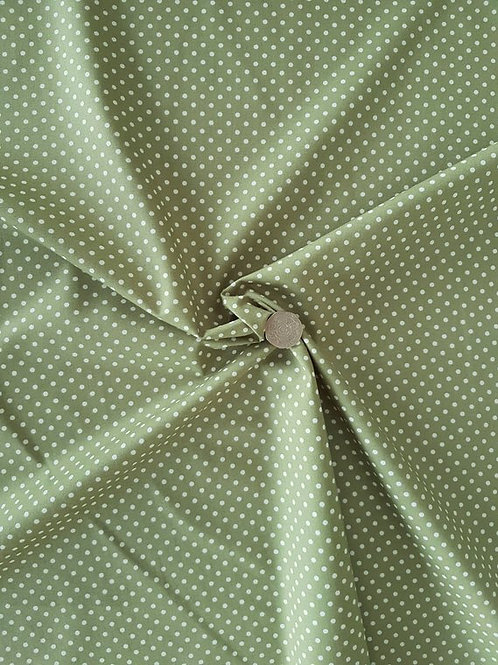 Rose & Hubble 100% Cotton Poplin Fabric - 3mm Polkadot Spot - Sage Green