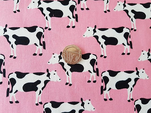 Rose & Hubble 100% Cotton Poplin Fabric - Pink with Black and White Cow