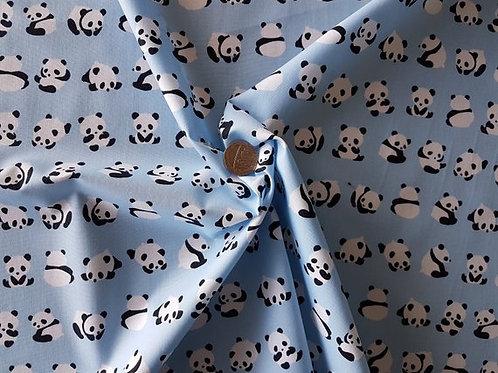 Rose & Hubble 100% Cotton Poplin Fabric - Pale Blue with Panda Bear print