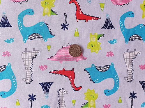 Top Quality 100% Cotton Poplin Fabric - Pale Blue with Dinosaurs