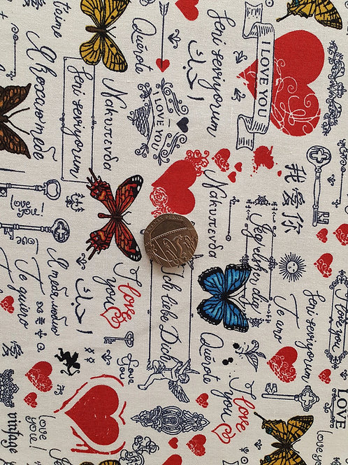 Rose & Hubble 100% Cotton Poplin Fabric - Love Hearts and Butterflies