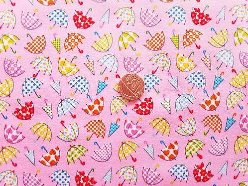 Rose & Hubble 100% Cotton Poplin Fabric - Pink with Multicoloured Umbrellas