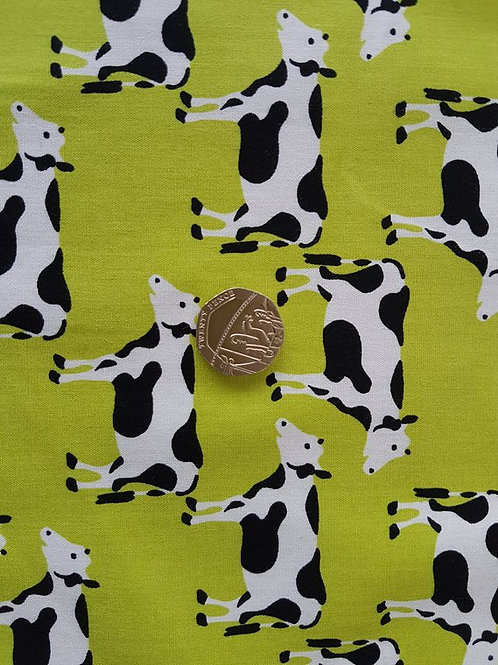 Rose & Hubble 100% Cotton Poplin Fabric - Lime Green with Black and White Cow