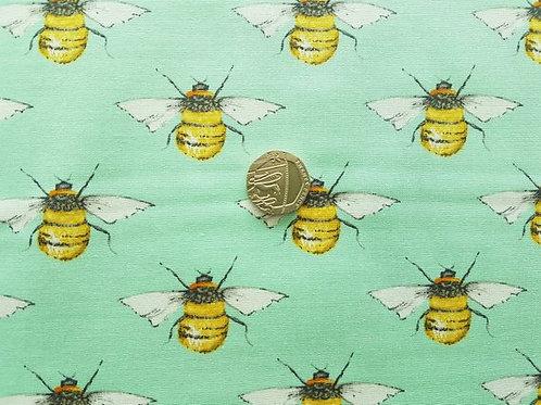 100% Cotton Poplin Fabric - Bumble Bee on Mint Green