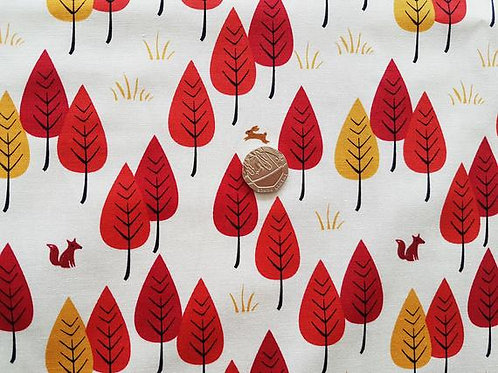 Rose & Hubble 100% Cotton Poplin Fabric - Fox and Hare in the Woods