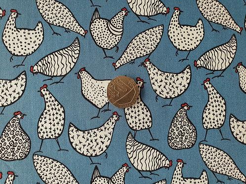 Rose & Hubble 100% Cotton Poplin Fabric - Copen Blue Chicken Hen