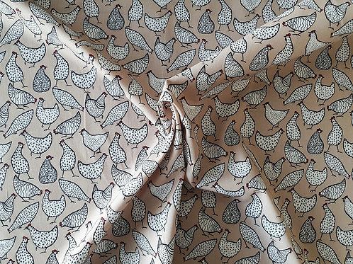 Rose & Hubble 100% Cotton Poplin Fabric - Beige Chicken Hen