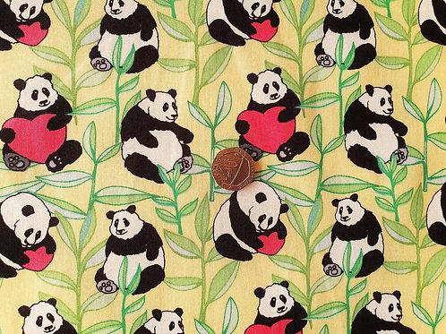 Rose & Hubble 100% Cotton Poplin Fabric - Love Heart Panda Bear -