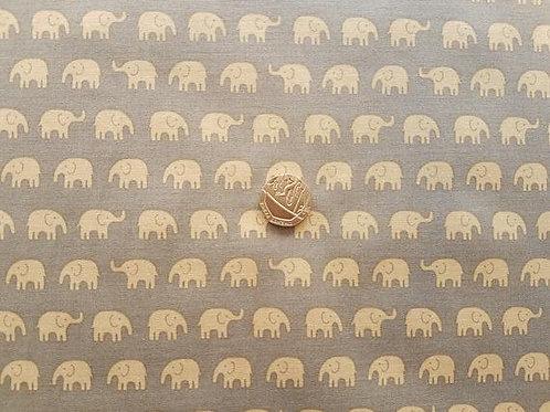 John Louden 100% Cotton Poplin Fabric - Elephant Beige & Grey
