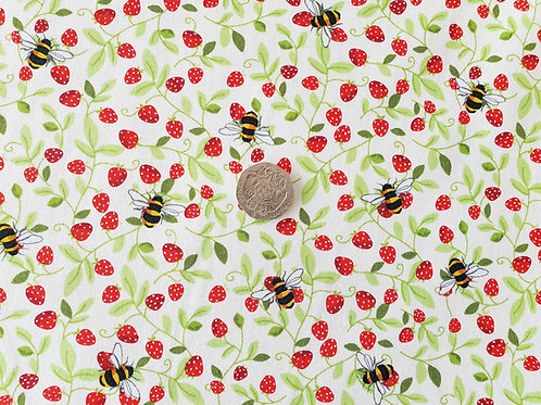 Rose and Hubble 100% Cotton Poplin Fabric - Bumble Bees & Strawberries - Dressma