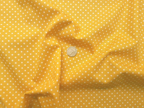 Rose & Hubble 100% Cotton Poplin Fabric - 3mm Polkadot Spot - Deep Yellow