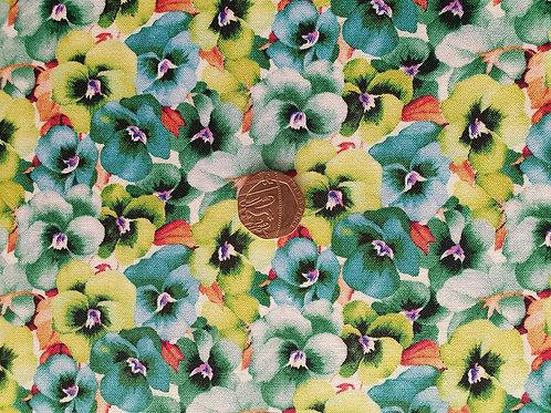 John Louden True Craft Cotton Poplin Fabric - Green Floral