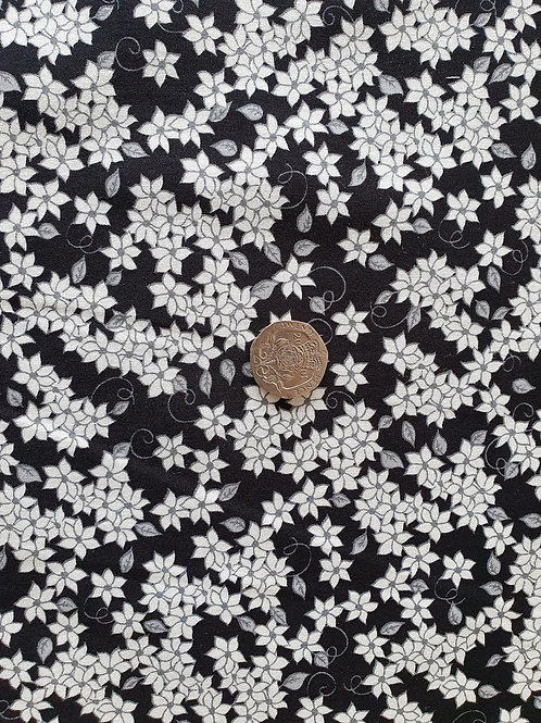 John Louden 100% Cotton Poplin Fabric - Black with grey & White Floral print
