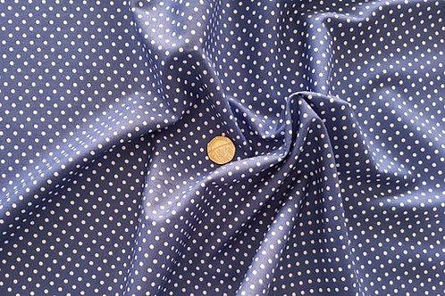 Rose & Hubble 100% Cotton Poplin Fabric - 3mm Polkadot Spot - Copen Blue