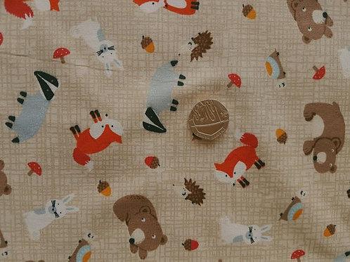 Rose & Hubble 100% Cotton Poplin Fabric - Woodland Creatures