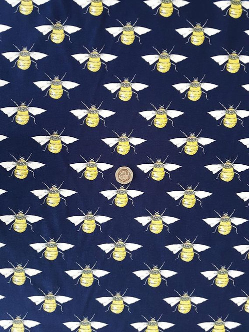 100% Cotton Poplin Fabric - Bumble Bee on Navy Blue