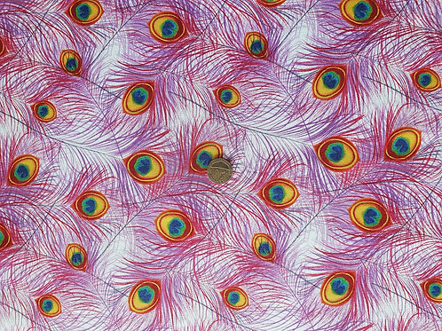 John Louden True Craft Cotton Poplin Fabric - Pink Peacock Feathers
