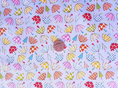 Rose & Hubble 100% Cotton Poplin Fabric - Blue with Multicoloured Umbrellas