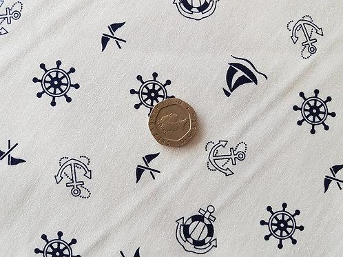 100% Cotton Poplin Fabric - Rose & Hubble - Navy Nautical on Cream Ivory -
