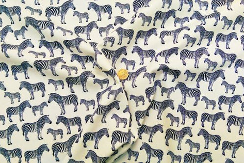 Rose & Hubble 100% Cotton Poplin Fabric - Cream with Navy Zebra