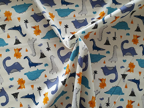Top Quality 100% Cotton Poplin Fabric - Ivory Cream with Dinosaurs