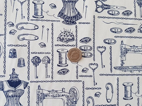 Rose & Hubble 100% Cotton Poplin Fabric - Vintage Sewing Print-