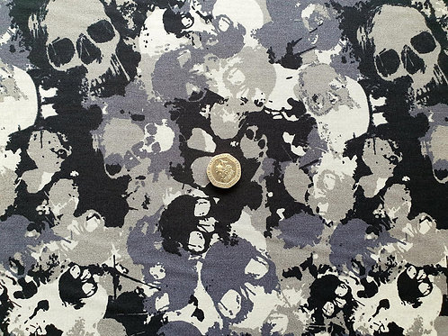 Rose & Hubble 100% Cotton Poplin Fabric - Grey Skull Camouflage Cammo