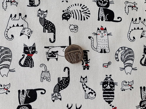 Rose & Hubble 100% Cotton Poplin Fabric - Ivory with Funky Pussy Cats print