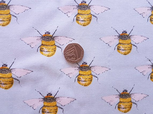 100% Cotton Poplin Fabric - Bumble Bee on Pale Blue