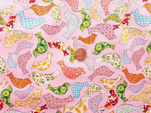 Rose & Hubble 100% Cotton Poplin Fabric - Pink with Multicoloured Birds