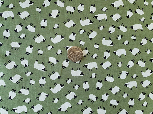 Rose & Hubble 100% Cotton Poplin Fabric - Sage Green with Black and White Sheep