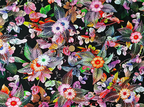 Top Quality Digital Print Viscose Dress Fabric - Black with Multcoloured Floral