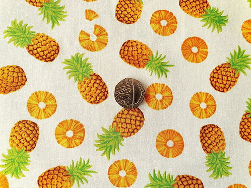 Top Quality 100% Cotton Poplin Fabric - Ivory Cream with Pineapples Design