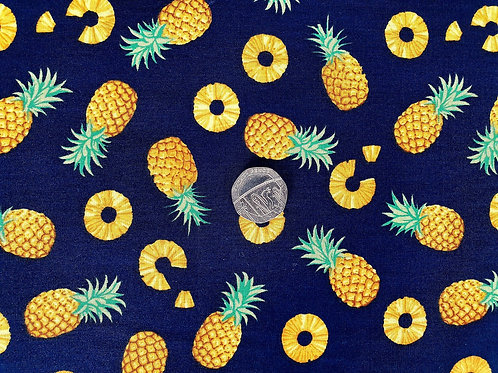 Top Quality 100% Cotton Poplin Fabric - Navy Blue with Pineapples Design