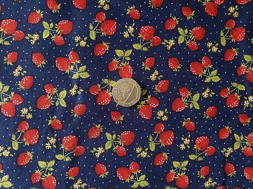 100% Cotton Poplin Fabric - Strawberries on Navy Blue