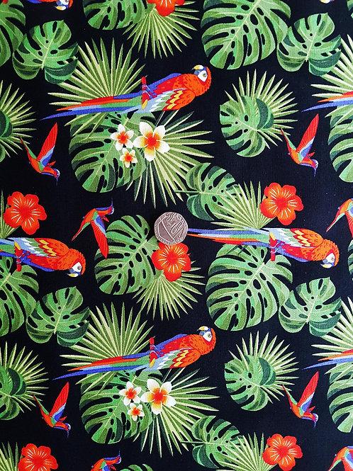 Rose & Hubble 100% Cotton Poplin Fabric - Jungle Parrot design