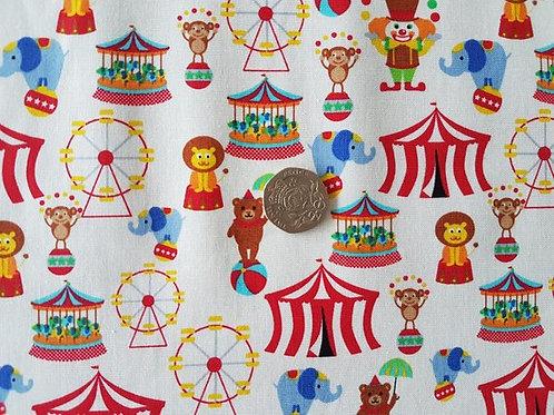 Rose & Hubble 100% Cotton Poplin Fabric - Fun of the Circus