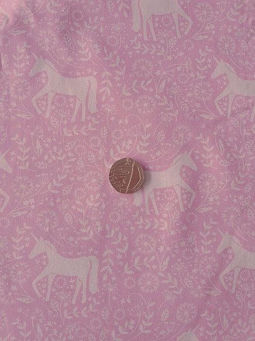 John Louden 100% Cotton Poplin Fabric - Pink Unicorn