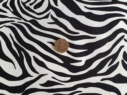 Rose & Hubble 100% Cotton Poplin Fabric - Zebra Animal print