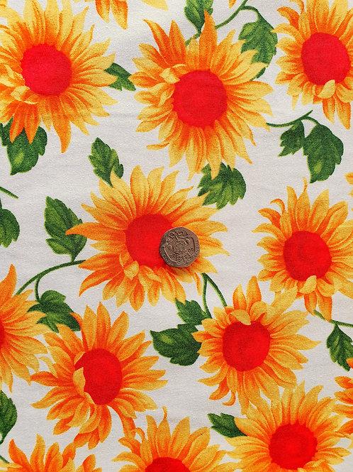 Top Quality 100% Cotton Poplin Fabric - Large Sunflower Floral Design