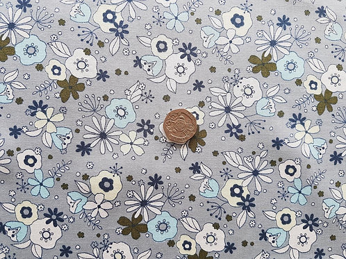 Rose & Hubble 100% Cotton Poplin Fabric - Medium Floral design - Mid Grey